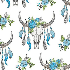 Boho Longhorn Cow Skull with Feathers and Flowers Blue