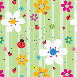 FlowersWithLadybugsGreen