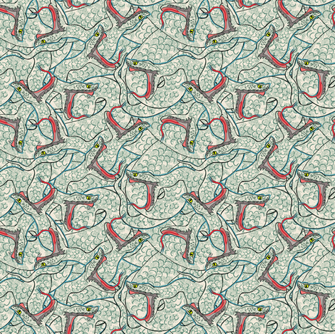 White Snakes volume 2 fabric by susiprint on Spoonflower - custom fabric