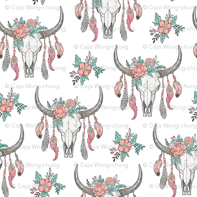 Boho Longhorn Cow Skull with Feathers and Flowers  Peach