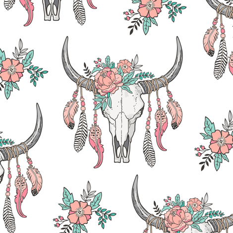 Boho Longhorn Cow Skull with Feathers and Flowers  Peach fabric by caja_design on Spoonflower - custom fabric