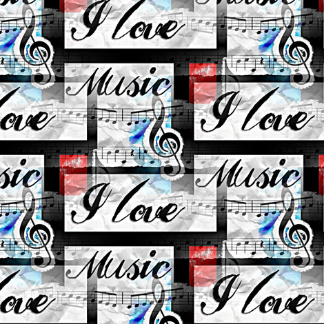 i love music fabric by stofftoy on Spoonflower - custom fabric