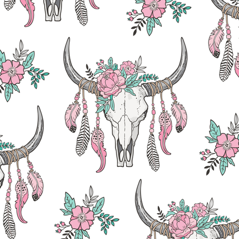 Boho Longhorn Cow Skull with Feathers and Flowers Pink fabric by caja_design on Spoonflower - custom fabric