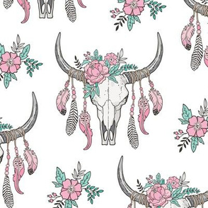 Boho Longhorn Cow Skull with Feathers and Flowers Pink