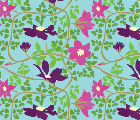 CLEMATIS fabric by mophead on Spoonflower - custom fabric