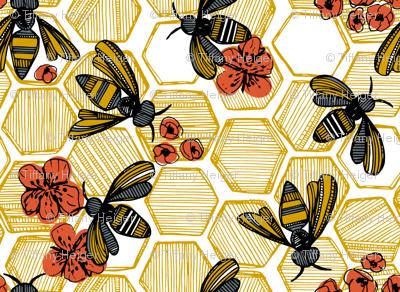 Honey Bee Hexagon Small