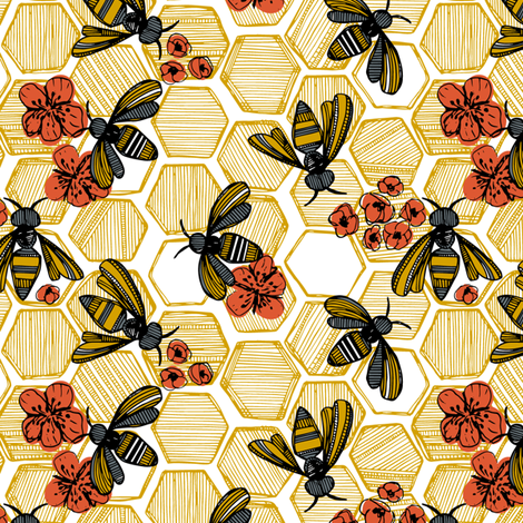 Honey Bee Hexagon Small fabric by tiffanyheiger on Spoonflower - custom fabric