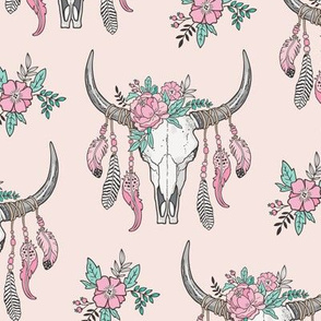 Boho Longhorn Cow Skull with Feathers and Flowers Pink on Pink