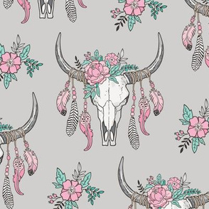 Boho Longhorn Cow Skull with Feathers and Flowers Pink on Grey