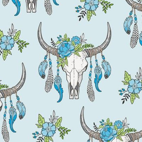 Boho Longhorn Cow Skull with Feathers and Flowers Blue on Blue