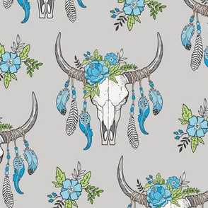 Boho Longhorn Cow Skull with Feathers and Flowers Blue on Grey