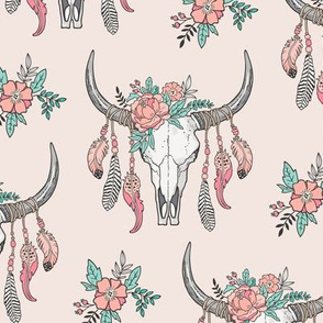 Boho Longhorn Cow Skull with Feathers and Flowers Peach on Peach