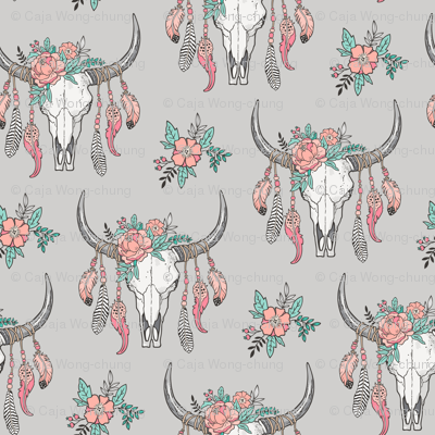 Boho Longhorn Cow Skull with Feathers and Flowers Peach on Grey