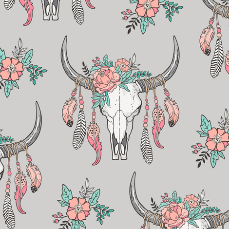 Boho Longhorn Cow Skull with Feathers and Flowers Peach on Grey fabric by caja_design on Spoonflower - custom fabric