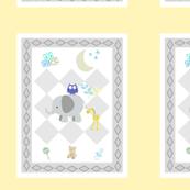 BABY BOY NAVY 6x7 - diamond gray soft yellow blue leaf