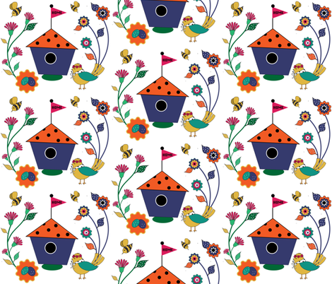 Birds and the Bees fabric by chloeclementinedesigns on Spoonflower - custom fabric