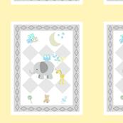 BABY BOY SKY 6x7 elephant friends - diamond gray soft yellow