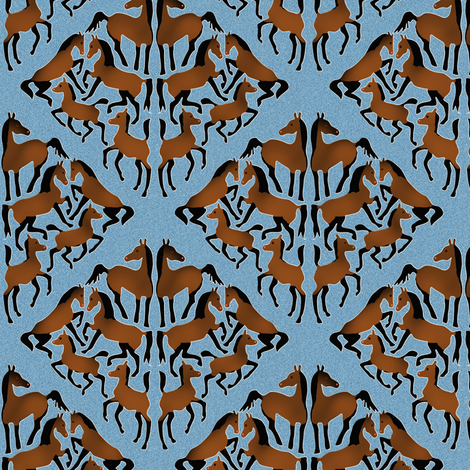 Bay Arabian Horse Damask on Blue fabric by eclectic_house on Spoonflower - custom fabric