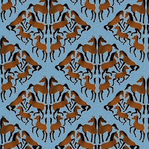 Bay Arabian Horse Damask on Blue