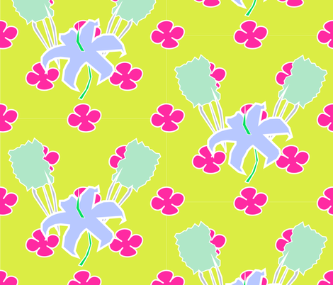 Cutout Floral - Chartreuse Sangria  fabric by sharri on Spoonflower - custom fabric