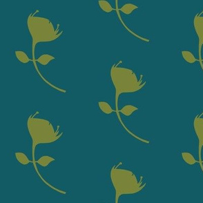 single protea - teal/green - lrg scale