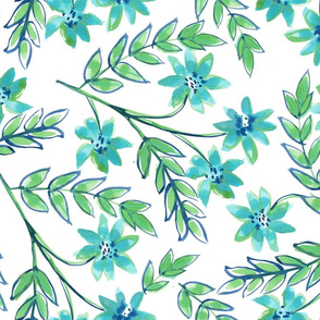 Blue Green Floral