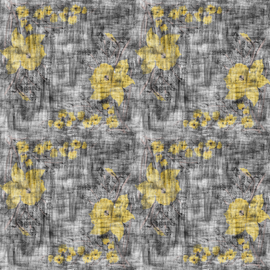 Daffodils Charcoal fabric by susiprint on Spoonflower - custom fabric