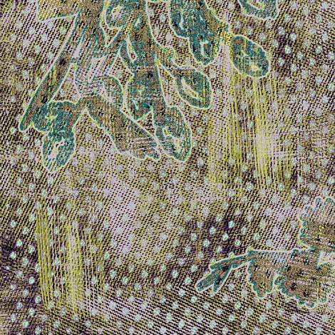 Green textured daffodils fabric by susiprint on Spoonflower - custom fabric