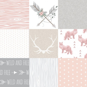 Fox and Arrows Wholecloth Quilt - blush, grey and tan - Boho Arrows with Flowers and Linen