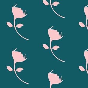 single protea - teal/pink - lrg scale