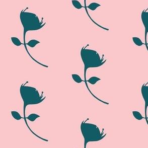 single protea - pink/teal - lrg scale