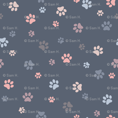 Paw Prints - Muted Grays and Pinks
