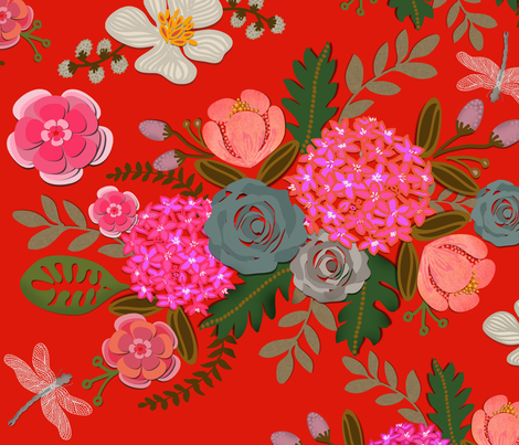 Paper Cut Bouquets on Scarlet fabric by honoluludesign on Spoonflower - custom fabric