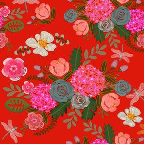 Paper Cut Bouquets on Scarlet