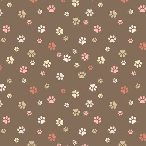 Paw Prints - Muted Browns and Reds