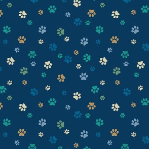 Paw Prints - Blue, Green, Gold