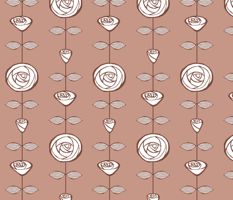 roses-on-string-nude fabric by breadcrumbs on Spoonflower - custom fabric
