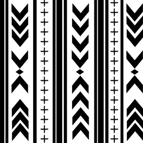 Black and White Wholecloth Aztec