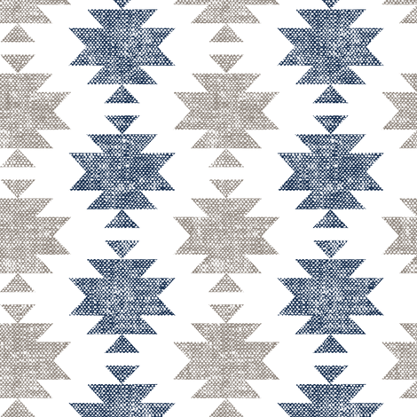 modern aztec    woven - tan and navy fabric by littlearrowdesign on Spoonflower - custom fabric