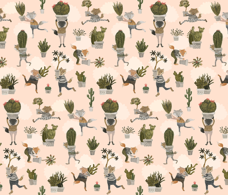 the succulent snatchers fabric by sleepandhersisters on Spoonflower - custom fabric