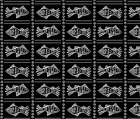 Fish Etch - white on black med fabric by franbail on Spoonflower - custom fabric