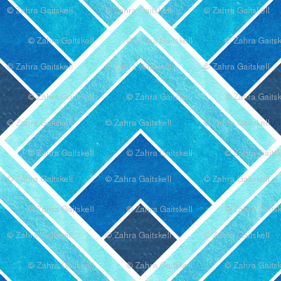 Blue Ombre Square Art Deco Pattern