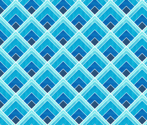 Blue Ombre Square Art Deco Pattern fabric by suzzincolour on Spoonflower - custom fabric