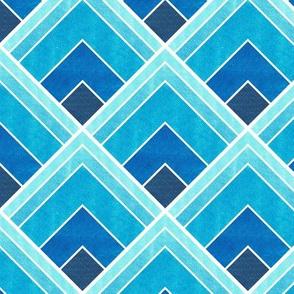 Blue Ombre Square Art Deco Pattern