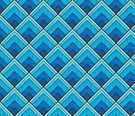 Flowing Blue Ombré Art Deco Pattern fabric by suzzincolour on Spoonflower - custom fabric