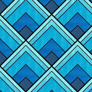 Flowing Blue Ombré Deco Pattern