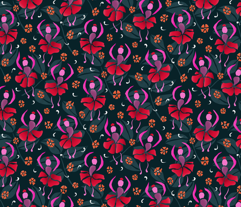 Fushia Dancers fabric by lauraflorencedesign on Spoonflower - custom fabric