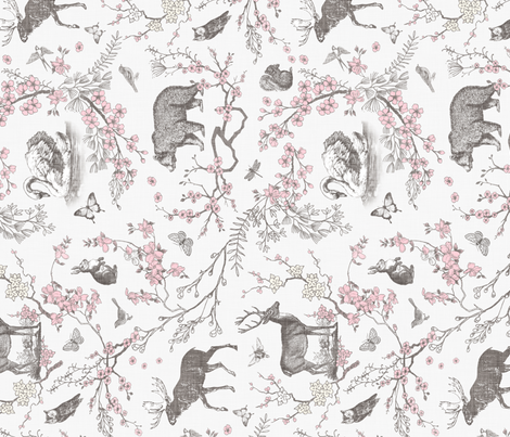 Spring Toile (Grey +Pink) RAILROAD fabric by nouveau_bohemian on Spoonflower - custom fabric