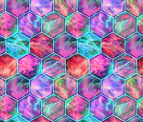 MAGIC CONTAINED LIGHTNING HEXAGONS aqua purple red fabric by paysmage on Spoonflower - custom fabric