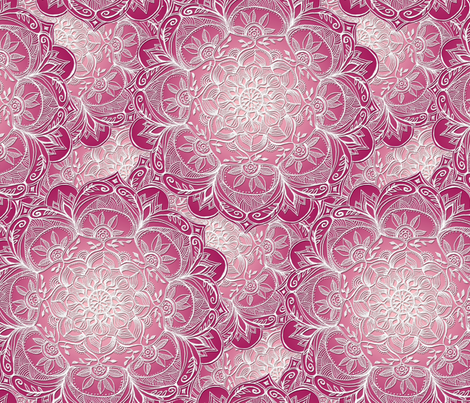 Pink, Plum and White Hand Drawn Mandalas large fabric by micklyn on Spoonflower - custom fabric